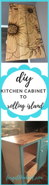 Kitchen cabinet to rolling island
