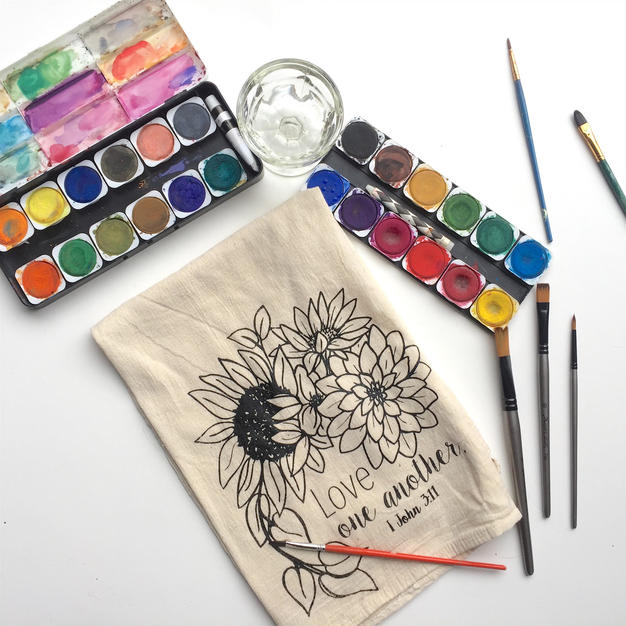 Coloring book tea-towels!