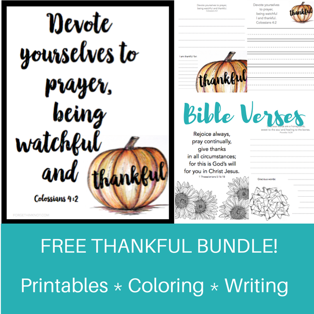 Thanksgiving printables with Bible verses