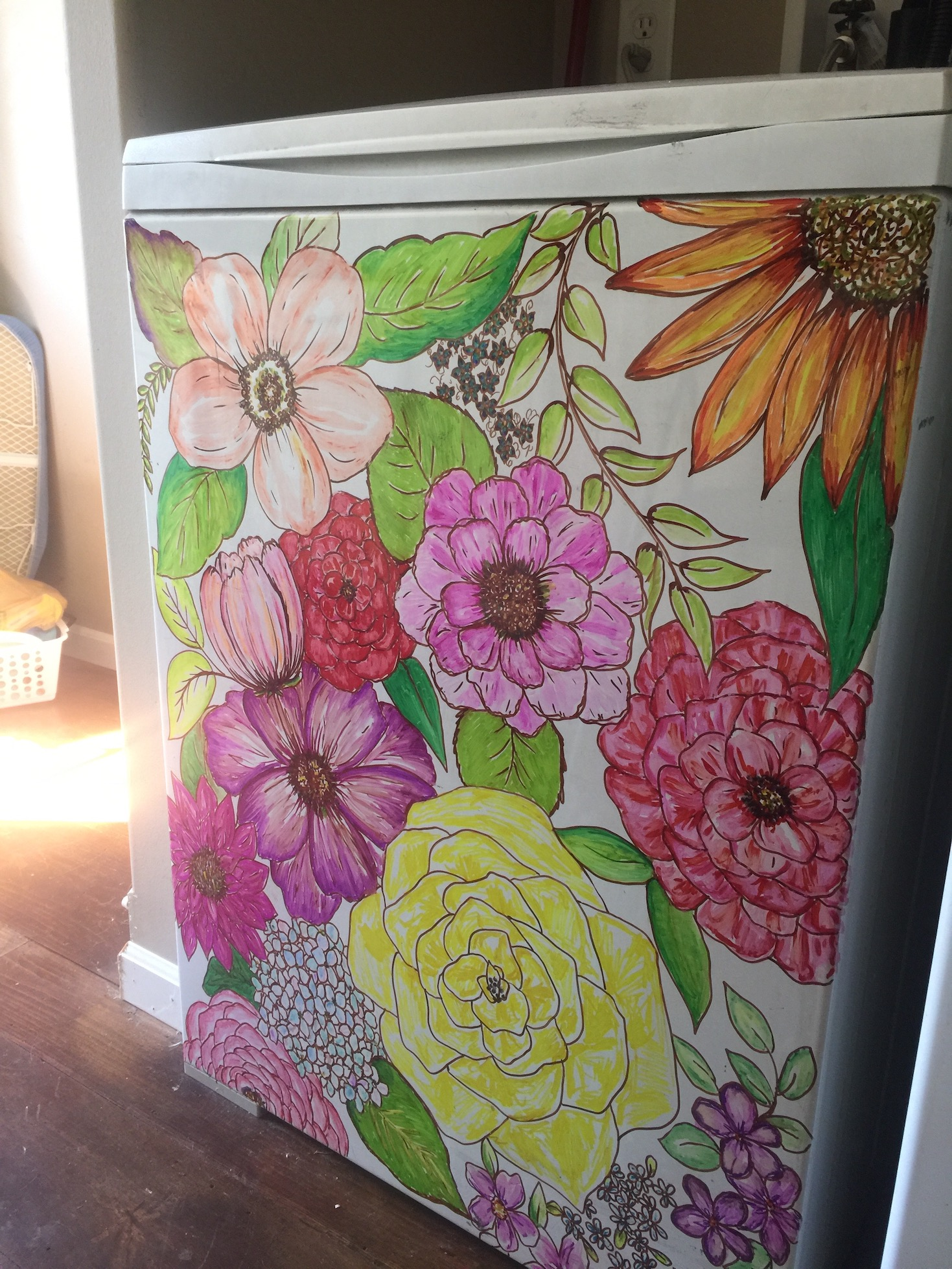 floral painted washing machine
