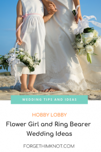 bride and flower girl on a beach