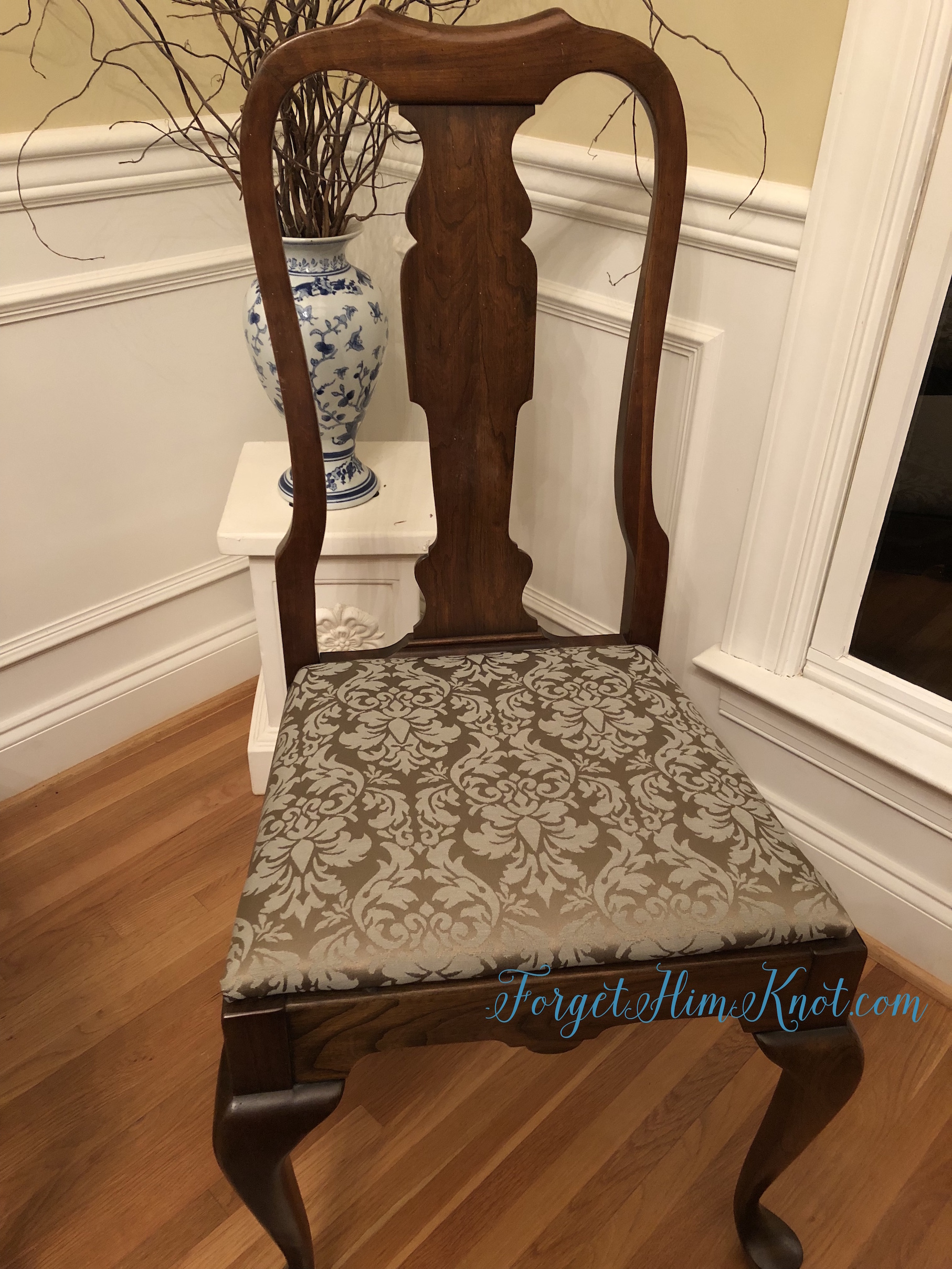 damask chair recovering