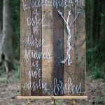 Knot tying pallet wood sign for a Christian wedding unity moment. A cord of three strands is not easily broken.