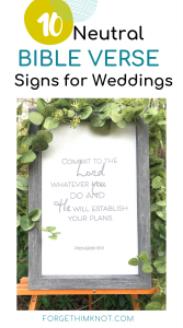 Neutral color Bible verse signs for weddings