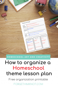 Homeschool printable to organize your theme of study lesson plans