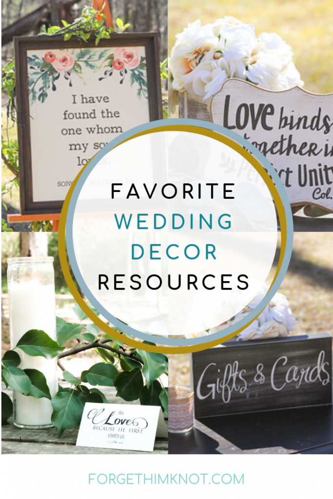 Grouping of Forget Him Knot's favorite weddnig decor resources