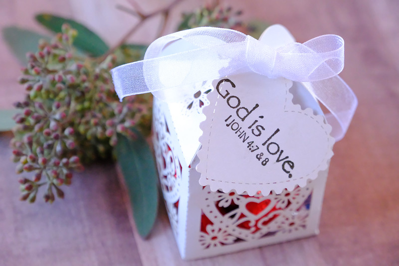 God is love wedding candy boxes and favors