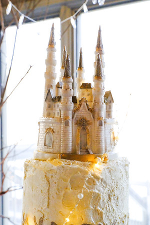 Disney themed wedding castle cake