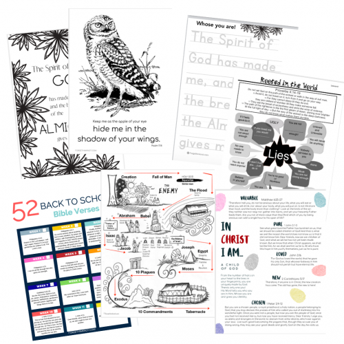 Worksheets, coloring pages and Bible verse printables from the Freebie Library from ForgetHimKnot.com